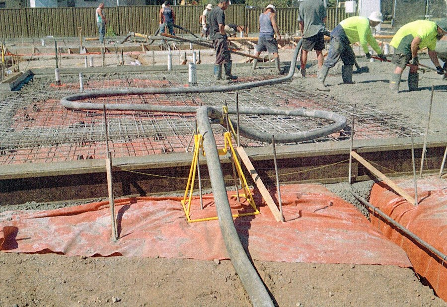 Concrete pump scrapers, stands and rollers